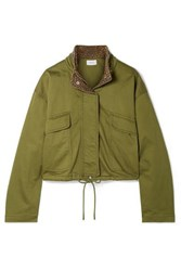 Current Elliott The Cropped Infantry Cropped Cotton Blend Jacket Green