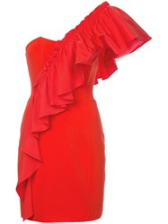 Cinq A Sept Frilled Fitted Dress Red