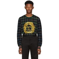 Versace Green Plaid Medusa Sweater