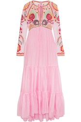 Temperley London Chimera Embroidered Tulle And Silk Blend Maxi Dress Pink