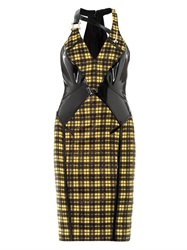 Versace Lurex Tartan And Leather Dress