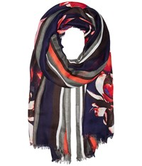 Ivanka Trump Bold Stripe With Painted Petals Oblong Black Bean Scarves