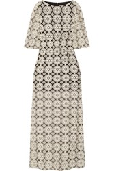 Alice Olivia Kellyanne Embroidered Cotton Blend Tulle Maxi Dress