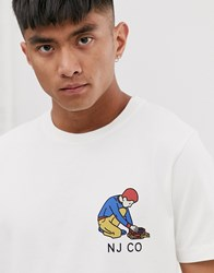 Nudie Jeans Co Roy Logo Boy T Shirt In White