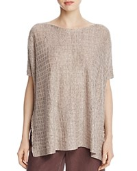 Eileen Fisher Bateau Neck Grid Sweater Natural