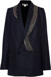 Stella Mccartney Gareth Zip Embellished Wool Blend Flannel Blazer Blue