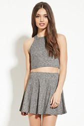 Forever 21 Marled Knit Skater Skirt Grey Black