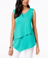 Alfani Petite Layered Asymmetrical Top Canary Green