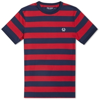 Fred Perry Striped Sports Tee Blood