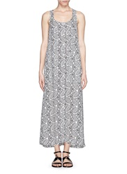 Theory 'Coruna' Botanical Print Button Front Maxi Dress Grey
