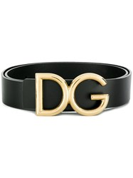 Dolce And Gabbana Logo Plaque Belt Black