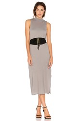Stateside Crepe Knit Midi Dress Gray