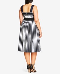 City Chic Trendy Plus Size Belted Striped Dress Navy