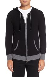 Michael Stars Men's Zip Front Wool Blend Hoodie Black Derby Grey