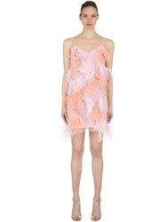 Nina Ricci Tulle Dress W Sequins And Feathers Pink