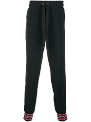 Dolce And Gabbana Striped Trim Track Pants Black