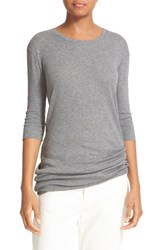 Vince Women's Elbow Sleeve Pima Cotton Tee Medium Heather Grey