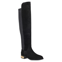 Carvela Pacific Low Block Heel Knee High Boots Black Suede