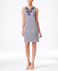 Charter Club Petite Sleeveless Embroidered Dress Only At Macy's Intrepid Blue