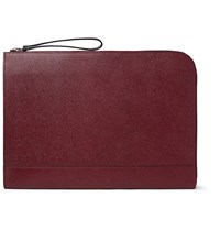 Valextra Pebble Grain Leather Portfolio Burgundy