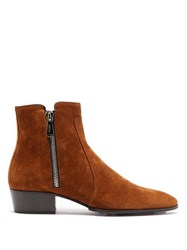 Balmain Mike Suede Ankle Boots Tan