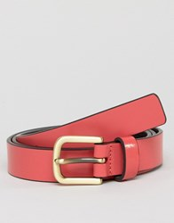 Smith And Canova Skinny Leather Belt In Pink Pink