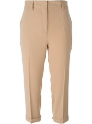Alberto Biani Tailored Cropped Trousers Nude And Neutrals