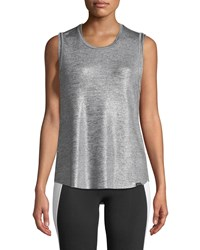 Koral Press Crewneck Metallic Knit Performance Tank Silver
