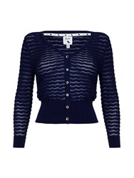 Yumi Scallop Pointelle Cardigan Navy