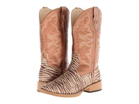 Roper Zebra Glitter Boot Square Toe Brown Cowboy Boots
