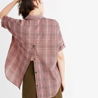Madewell Courier Button Back Shirt In Hartley Plaid Rosewood Pink
