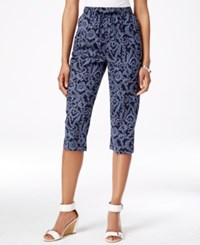 Karen Scott Drawstring Waist Printed Capri Pants Only At Macy's Intrepid Blue