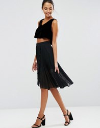 Asos Pleated Midi Skirt With Wrap Front Detail Black
