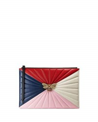 Gucci Colorblock Fly Zip Wristlet Pouch Bag Red Multi Red Pattern