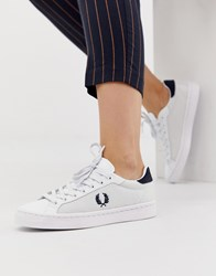 ced1d6a50846 Fred Perry Mesh Detail Leather Trainer White Navy