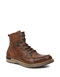 Gbx Draft Leather Lace Up Boots Tan