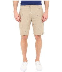 Dockers The Perfect Shorts Classic Flat Front Anchor Print British Khaki Men's Shorts Beige
