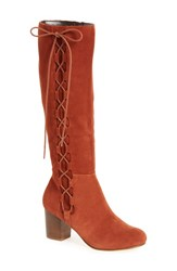 Sole Society Women's Arabella Knee High Lace Up Boot Rust Suede