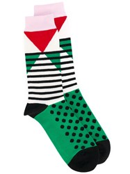 Henrik Vibskov Geometric Patterned Socks Unisex Cotton Nylon Spandex Elastane One Size Green