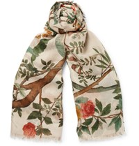 Gucci Botanical Print Wool And Silk Blend Scarf White