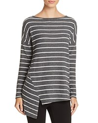 Red Haute Striped Asymmetric Tunic Charcoal