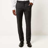 Vito River Island Mens Grey Tailored Slim Trousers