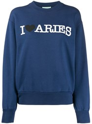 Aries Printed Sweatshirt Blue