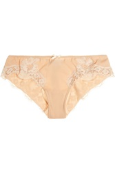 Dolce And Gabbana Lace Trimmed Silk Blend Georgette Briefs