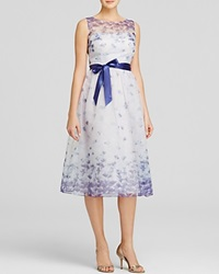 Adrianna Papell Dress Sleeveless Belted Floral Print Tea Length