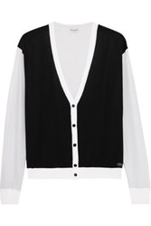 Vionnet Color Block Cotton Blend Cardigan Black