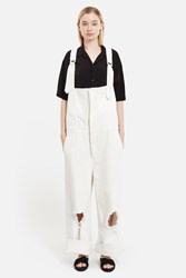 Ikumi Damaged Denim Overalls White