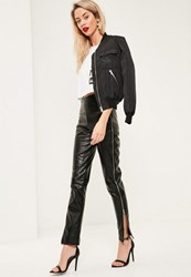Missguided Tall Exclusive Black Faux Leather Side Zip Trousers