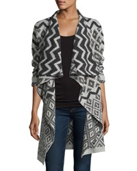 Neiman Marcus Geometric Print Open Front Cardigan Black Whit