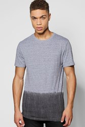 Boohoo Scoop T Shirt In Dip Dye Black